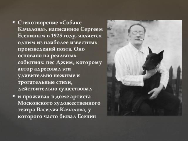Стихотворение «Собаке Качалова», написанное Сергеем Есениным в 1925 году, является одним из наиболее известных произведений поэта. Оно основано на реальных событиях: пес Джим, которому автор адресовал эти удивительно нежные и трогательные стихи, действительно существовал и проживал в доме артиста Московского художественного театра Василия Качалова, у которого часто бывал Есенин