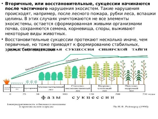 Вторичные, или восстановительные, сукцессии начинаются после частичного нарушения экосистем. Такие нарушения происходят, например, после лесного пожара, рубки леса, вспашки целины. В этих случаях уничтожаются не все элементы экосистемы, остается сформированная живыми организмами почва, сохраняются семена, корневища, споры, выживают некоторые виды животных. Восстановительные сукцессии протекают несколько иначе, чем первичные, но тоже приводят к формированию стабильных, зрелых биогеоценозов