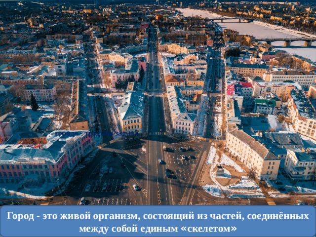 города - трудная задача. Город - это живой организм, состоящий из частей, соединённых между собой единым « скелетом »