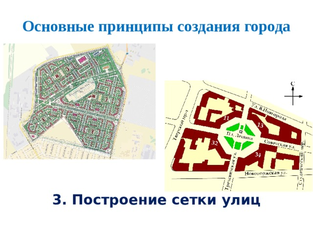 Основные принципы создания города  3. Построение сетки улиц