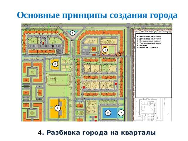 Основные принципы создания города 4 . Разбивка города на кварталы