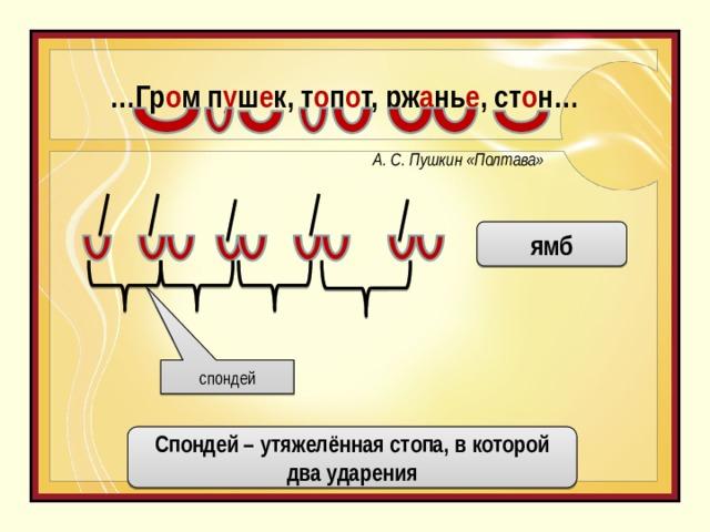 … Гр о м п у ш е к, т о п о т, рж а нь е , ст о н… А. С. Пушкин «Полтава» ямб спондей Спондей – утяжелённая стопа, в которой два ударения