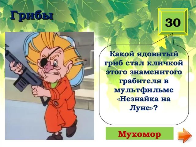 Грибы   30 Какой ядовитый гриб стал кличкой этого знаменитого грабителя в мультфильме «Незнайка на Луне»? Мухомор