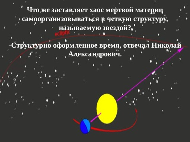 Что же заставляет хаос мертвой материи самоорганизовываться в четкую структуру, называемую звездой?  -Структурно оформленное время, отвечал Николай Александрович.
