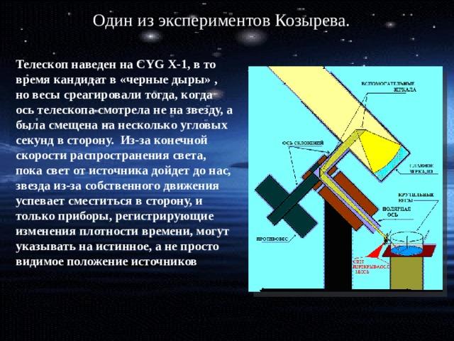 Один из экспериментов Козырева. Телескоп наведен на CYG X-1, в то время кандидат в «черные дыры» , но весы среагировали тогда, когда ось телескопа смотрела не на звезду, а была смещена на несколько угловых секунд в сторону. Из-за конечной скорости распространения света, пока свет от источника дойдет до нас, звезда из-за собственного движения успевает сместиться в сторону, и только приборы, регистрирующие изменения плотности времени, могут указывать на истинное, а не просто видимое положение источников
