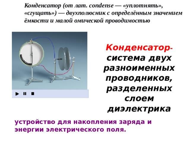 Конденсатор (от лат. condense— «уплотнять», «сгущать»)— двухполюсник с определённым значением ёмкости и малой омической проводимостью Конденсатор - система двух разноименных проводников, разделенных слоем диэлектрика устройство для накопления заряда и энергии электрического поля.