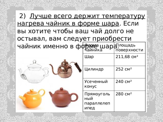 2) Лучше всего держит температуру нагрева чайник в форме шара . Если вы хотите чтобы ваш чай долго не остывал, вам следует приобрести чайник именно в форме шара. Форма чайника Шар Площадь поверхности 211,68 см ² Цилиндр 252 см ² Усеченный конус 240 см ² Прямоугольный параллелепипед 280 см ²