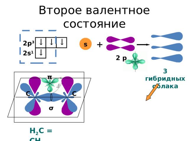 Второе валентное состояние ↓ ↓ ↓ s + 2p 3 ↓ 2s 1 2 p 3 гибридных облака π C C σ Н 2 С = СН 2
