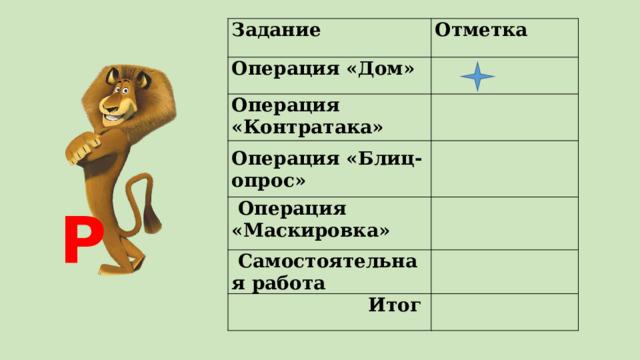 Задание Отметка Операция «Дом»  Операция «Контратака»     Операция «Маскировка» Операция «Блиц-опрос»   Самостоятельная работа   Итог  Р
