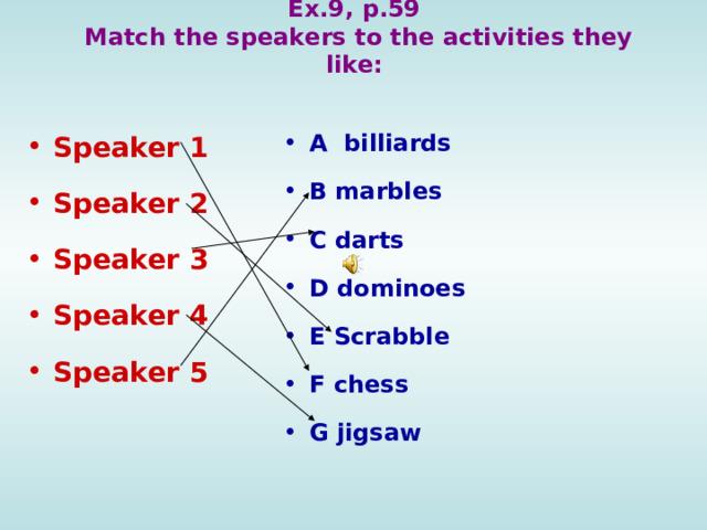 Ex.9, p.59  Match the  speakers to the activities they like:  A billiards B marbles C darts D dominoes E Scrabble F chess G jigsaw  Speaker 1 Speaker 2 Speaker 3 Speaker 4 Speaker 5