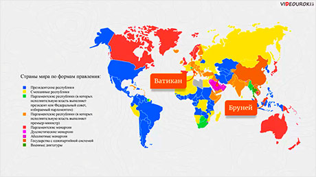 Территория и государственный строй стран мира
